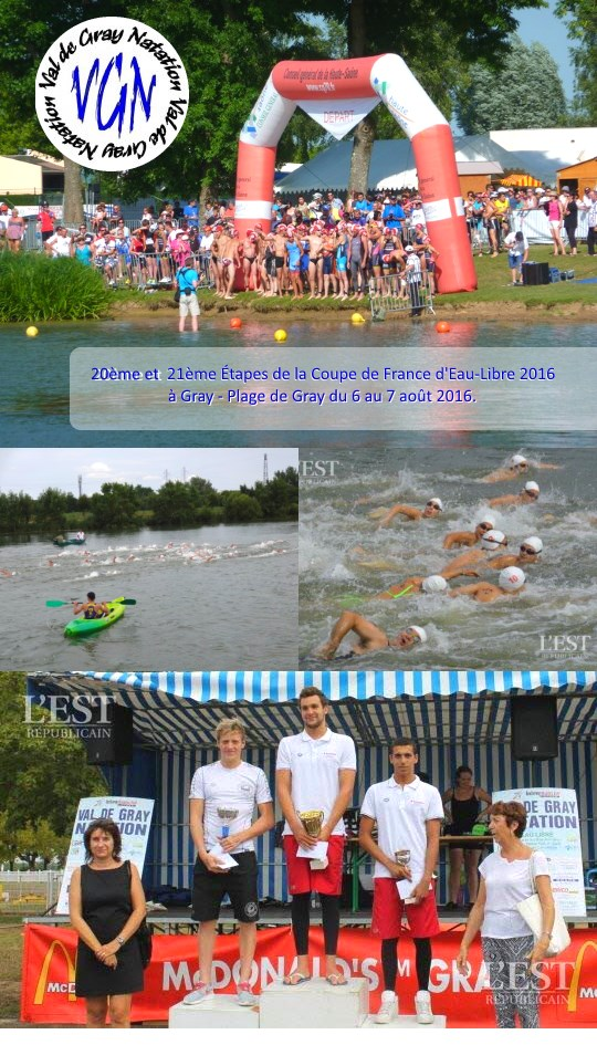 20th and 21th stages of the French open-water Cup 2016 at Gray